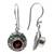 Garnet dangle earrings, 'Scarlet Ladybug' - Fair Trade Sterling Silver and Garnet Dangle Earrings (image 2f) thumbail