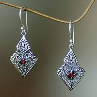 Garnet dangle earrings, 'Sacred Forest'