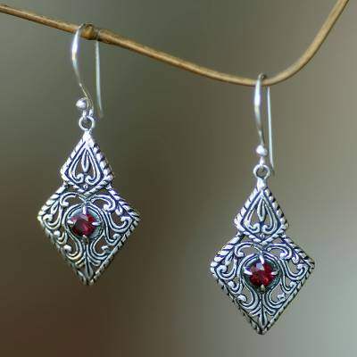 Garnet dangle earrings, 'Sacred Forest' - Fair Trade Sterling Silver and Garnet Ornate Dangle Earrings