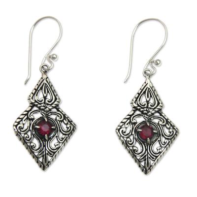 Fair Trade Sterling Silver and Garnet Ornate Dangle Earrings