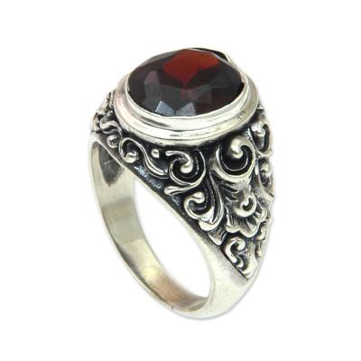 Garnet cocktail ring, 'Kuta Sunset' - Balinese Handcrafted Garnet and 925 Silver Cocktail Ring