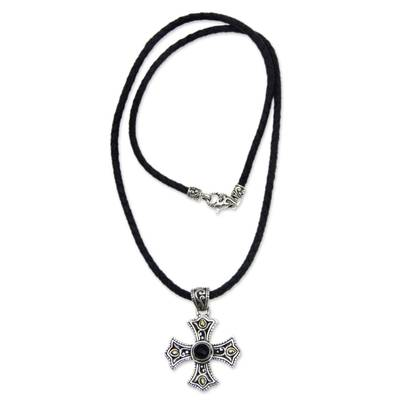 Men's onyx cross pendant necklace, 'Enlightenment' - Men's 18k Gold Accented Silver Cross Necklace with Onyx