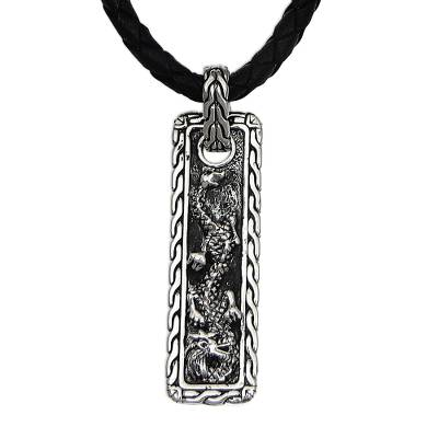 Men's sterling silver pendant necklace, 'Bold Dragon' - Sterling Silver Dragon Pendant Necklace for Men