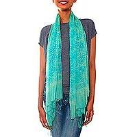 Silk batik scarf, 'Kembang Melati' - Green Silk Scarf with Hand Stamped Jasmine Batik