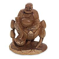 Wood statuette, 'Buddha of Happiness I' - Fair Trade Hand Carved Acacia Wood Buddhism Sculpture