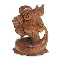 Wood statuette, 'Buddha of Happiness II' - Buddhism Sculpture Hand Carved of Acacia Wood