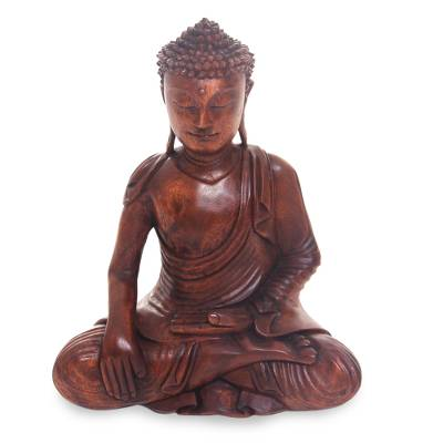 Artisan Hand Carved Wood Buddha Sculpture from Bali