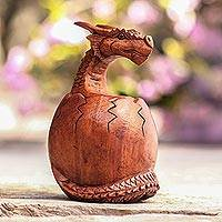 Wood sculpture, 'Hatchling Dragon'