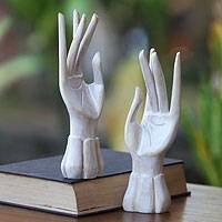 Wood jewelry holder, 'Fairy Hands' (pair)