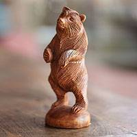 Wood statuette, 'Inquisitive Brown Bear' - Hand Carved Wood Statuette of Standing Brown Bear