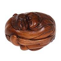 Wood statuette, 'Romancing' - Hand Carved Original Wood Sculpture