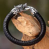 Men's leather and sterling silver bracelet, 'Dragon King' - Original Men's Black Leather and Silver Dragon Bracelet
