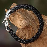 Men's leather and sterling silver bracelet, 'Tribal Strength'
