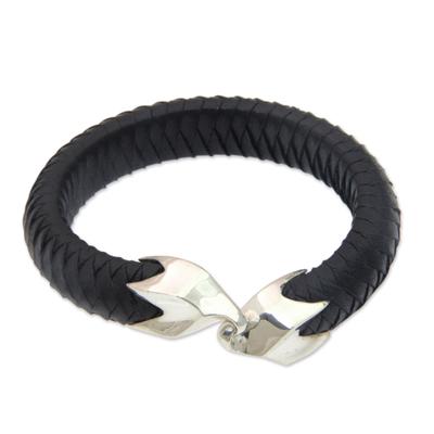 Leather and sterling silver cuff bracelet, 'Energy Flow' - Braided Black Leather and Sterling Silver Bracelet