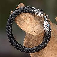Men's leather and sterling silver bracelet, 'Fireballs' - Braided Leather and Silver Bracelet for Men from Bali