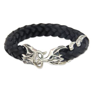 Men's leather and sterling silver bracelet, 'Lipan' - Unique Sterling Silver and Black Leather Bracelet for Men