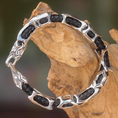 Men's leather and sterling silver bracelet, 'Bone Dragon' - Sterling Silver and Braided Black Leather Men's Bracelet