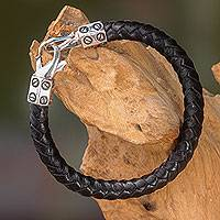 Leather and sterling silver bracelet, 'Whip' - Handcrafted Black Leather and Silver Women's Bracelet