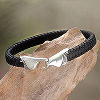 Leather and sterling silver bracelet, 'Undercurrents' - Fair Trade Women's Black Leather and Silver Bracelet