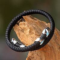 Men's leather and sterling silver wrap bracelet, 'Tribal Aesthetic'