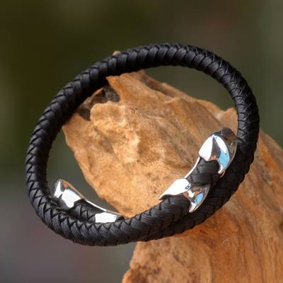 Men's leather and sterling silver wrap bracelet, 'Tribal Aesthetic' - Handcrafted Men's Wrap Bracelet in Leather and Silver 925