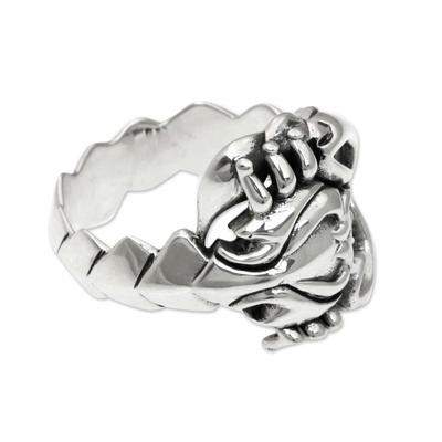Men's sterling silver ring, 'Scorpion King' - Handcrafted Men's Silver Scorpion Ring from Bali Artisan