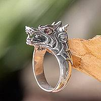 Men's sterling silver and garnet ring, 'Dragon Wolf'