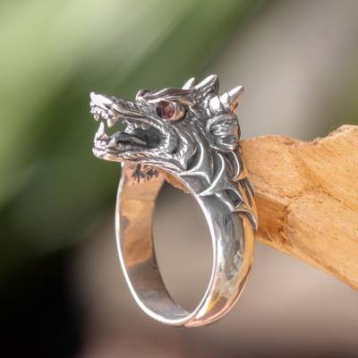 Men's sterling silver and garnet ring, 'Dragon Wolf' - Garnet and Sterling Silver Men's Dragon Wolf Ring