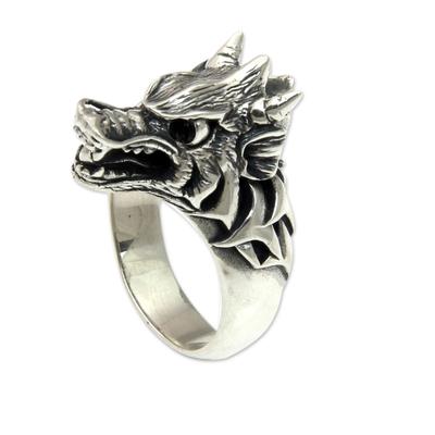 Men's sterling silver and garnet ring, 'Dragon Wolf' - Garnet and Sterling Silver Men's Dragon Wolf Ring