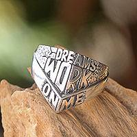 Men's sterling silver ring, 'Dreams Work On Me'
