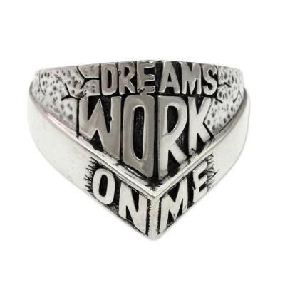 Men's sterling silver ring, 'Dreams Work On Me' - Artisan Crafted Men's Sterling Silver Ring with Engraving
