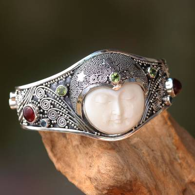 Peridot and carnelian cuff bracelet, 'Moon Queen' - Handmade Cuff Bracelet with Gemstones, Bone, and Silver
