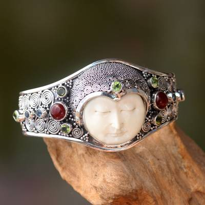 Unicef Market Hand Carved Bone Silver And Gemstone Cuff Bracelet Moon Empress