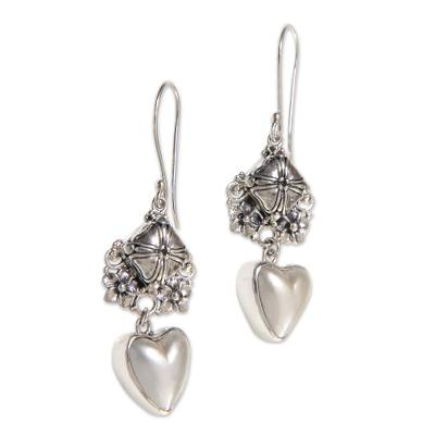 Cultured mabe pearl dangle earrings, 'Pure of Heart' - Heart-Shaped Mabe Pearl and Silver Dangle Earrings