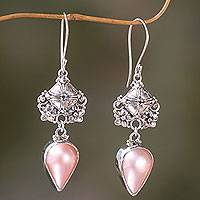 Pink mabe pearl dangle earrings, 'Budding Frangipani' - Handmade Pink Mabe Pearl and Silver Earrings from Bali