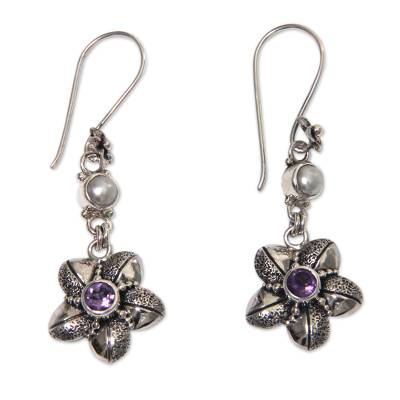 Amethyst and pearl dangle earrings, 'Rainforest Blossom' - Silver Flower Earrings with Amethyst and Cultured Pearl
