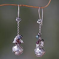 Cultured pearl and garnet dangle earrings, 'Flower Chime' - Floral Sterling Silver Earrings with Garnets and Pearls