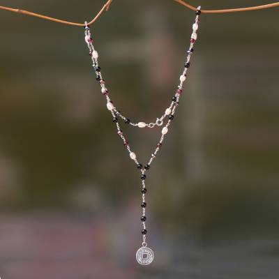 Onyx, garnet and pearl Y necklace, 'Ebony and Crimson Pis Bolong' - Sterling Silver, Onyx, Garnet and Pearl Y-Style Necklace