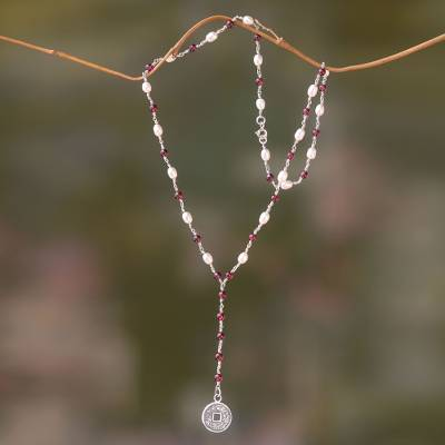 Garnet and pearl Y necklace, 'Ivory and Crimson Pis Bolong' - Y-Necklace with 925 Sterling Silver, Garnets and Pearls
