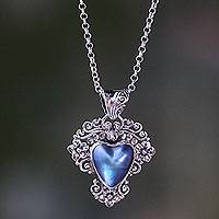 Blue mabe pearl pendant necklace, 'Blue Heart in Bloom' - Heart Shaped Blue Cultured Mabe Pearl Pendant Necklace