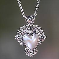 Cultured mabe pearl pendant necklace, 'Heart in Bloom' - Sterling Silver and Heart-Shaped Pearl Pendant Necklace