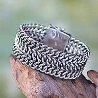 Sterling silver wristband bracelet, 'Enmeshed'
