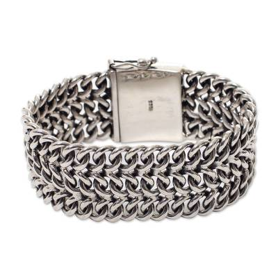 Sterling silver wristband bracelet, 'Enmeshed' - Women's Sterling Silver Wristband Bracelet from Indonesia