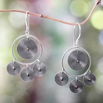 Gold accented chandelier earrings, 'Orbiting Moons' - Artisan Crafted Sterling Silver and 18k Gold Accent Earrings
