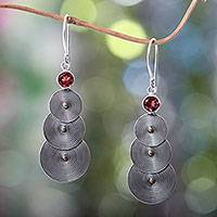 18k gold accent and garnet dangle earrings, 'Ripple Effect'