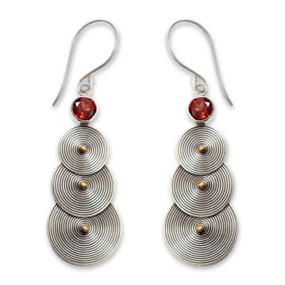 18k gold accent and garnet dangle earrings, 'Ripple Effect' - Sterling Silver and Garnet Earrings with 18k Gold Accent