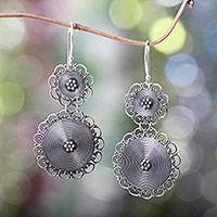 Sterling silver dangle earrings, 'Florid Suns' - Ornate Sterling Silver Dangle Earrings Hand Made in Bali