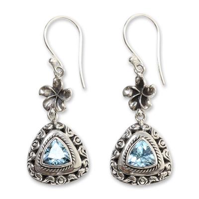 Blue topaz dangle earrings, 'Blue Plumeria' - Sterling Silver and 3 Carat Trillion Cut Blue Topaz Earrings