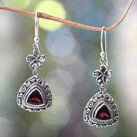 Garnet dangle earrings, 'Crimson Plumeria' - Hand Made Garnet and 925 Sterling Silver Flower Earrings