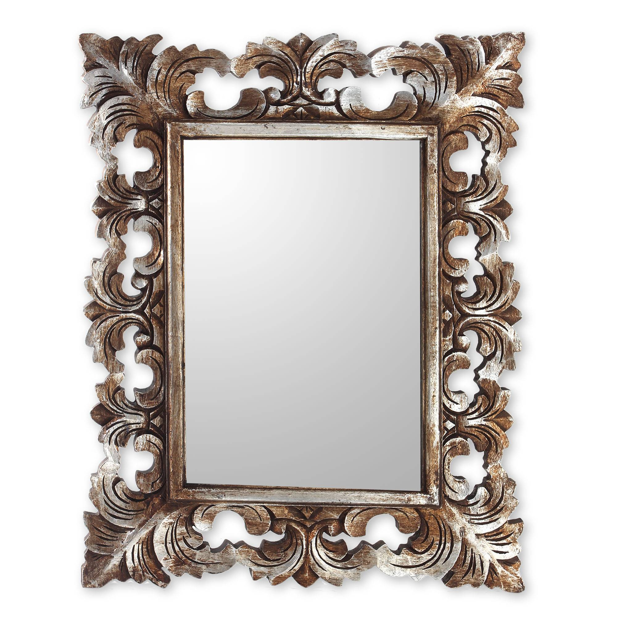Silver Wall Mirrors hand carved wood wall mirror with distressed silver finish - padma